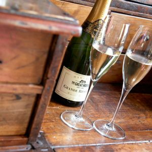 Great House Champagne with two glasses